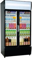 Double Door Upright Display Fridge Black