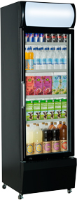 Single Dr Upright Display Fridge BK